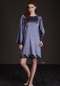 silk shirt with lace long...