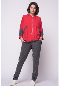 Suit red extra long jacket...