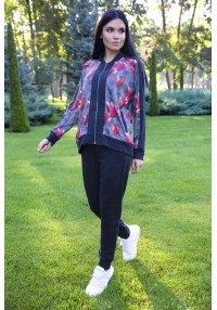 suit knitted print flowers
